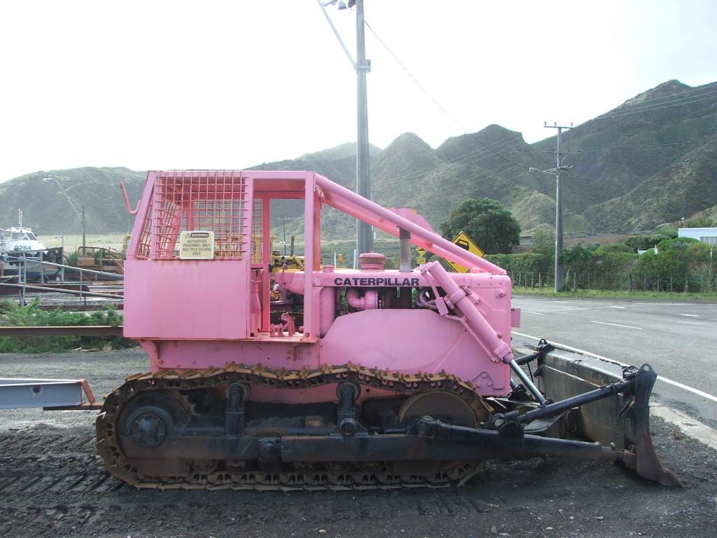 pink backhoe